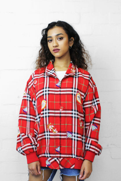 90's Vintage Tartan Unisex Silk Harrington Jacket