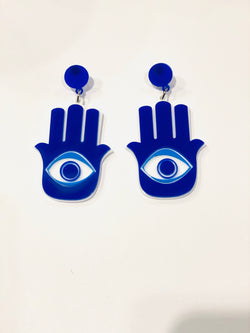 Evil Eye Hand Earrings