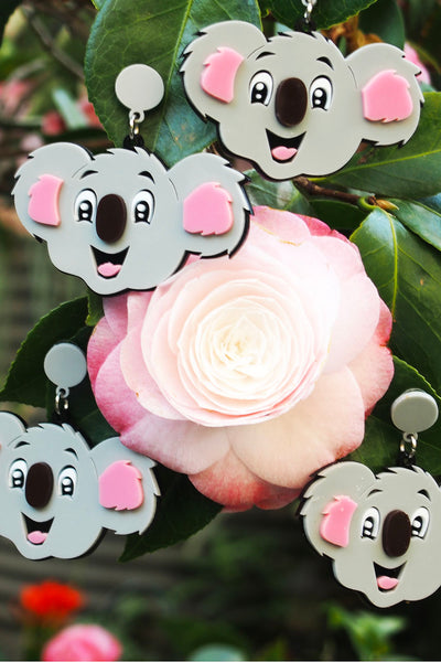 Blinky Koala Face Earrings
