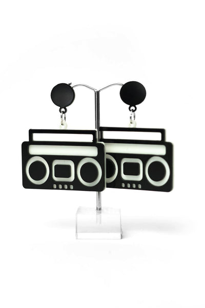 black Stereo System Earrings