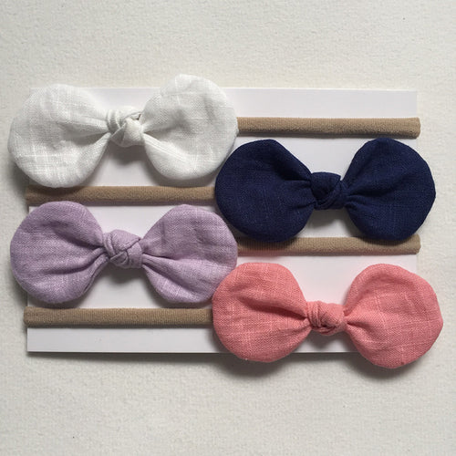 4 Pack Girls Elastic Bow