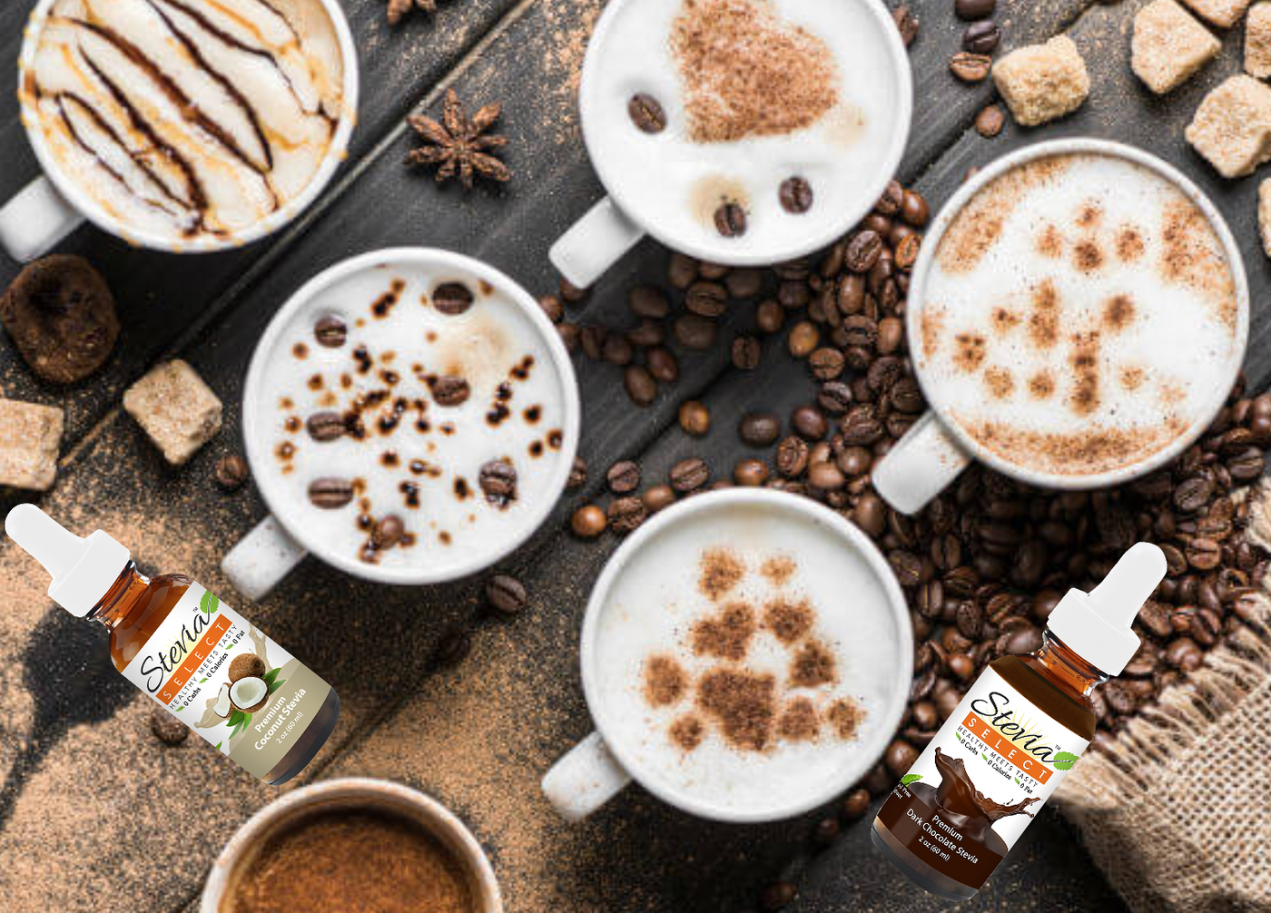 stevia select Keto sugar-free coffee flavors. Pure stevia and stevia flavors. sugar free keto coffee sweeteners. diabetic friendly and will not effect glycemic levels. Keto coffee sweeteners all natural sugar substitute.