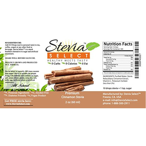 Stevia Liquid Cinnamon Sweet Drops - 2 oz Flavored Stevia
