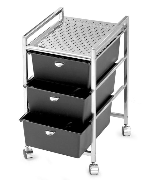 Pibbs D23 3-Drawer Metal Roller Cart
