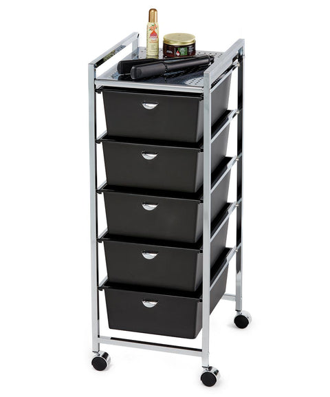 Pibbs D25 5-Drawer Metal Roller Cart