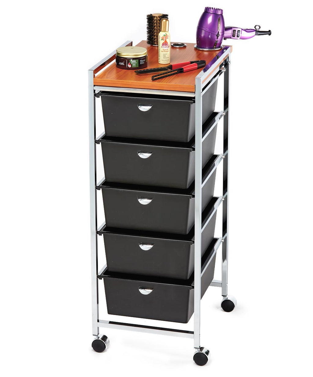 Pibbs D29 5-Drawer Professional Utility Cart Styling Station Wood