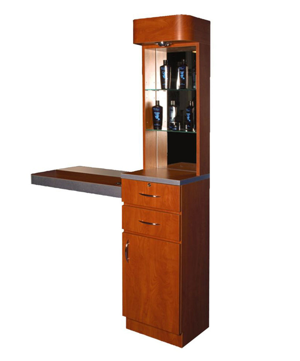 Pibbs Tower Styling Station with Mirrored Back Storage and Display