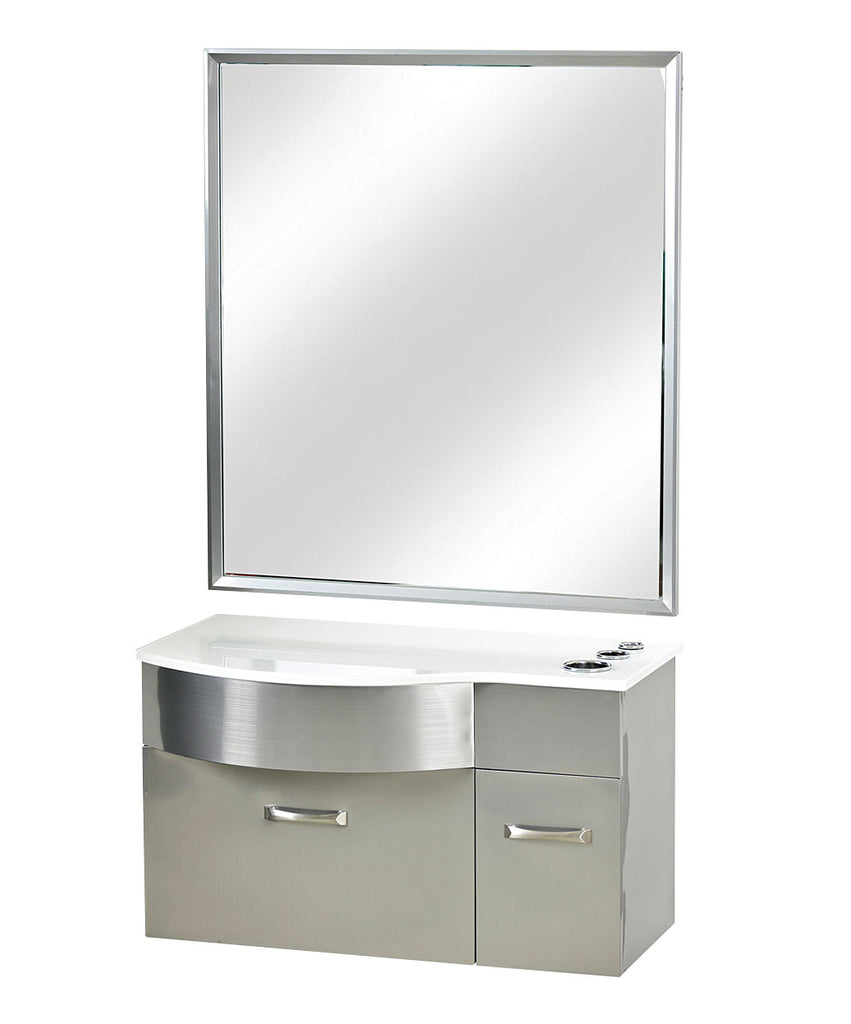 Stainless Steel Styling Station with Mirror and White Stone top