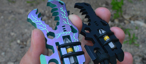Titanium and aluminum jurassic croc multi-tools from vice anvil tactical