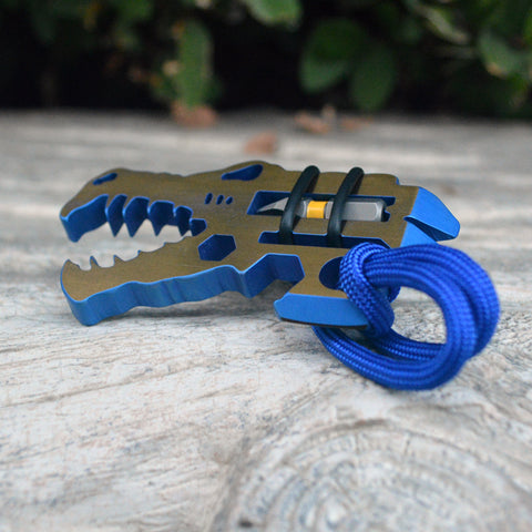 Titanium Jurassic Croc everyday carry pocket tool anodized blue and bronze