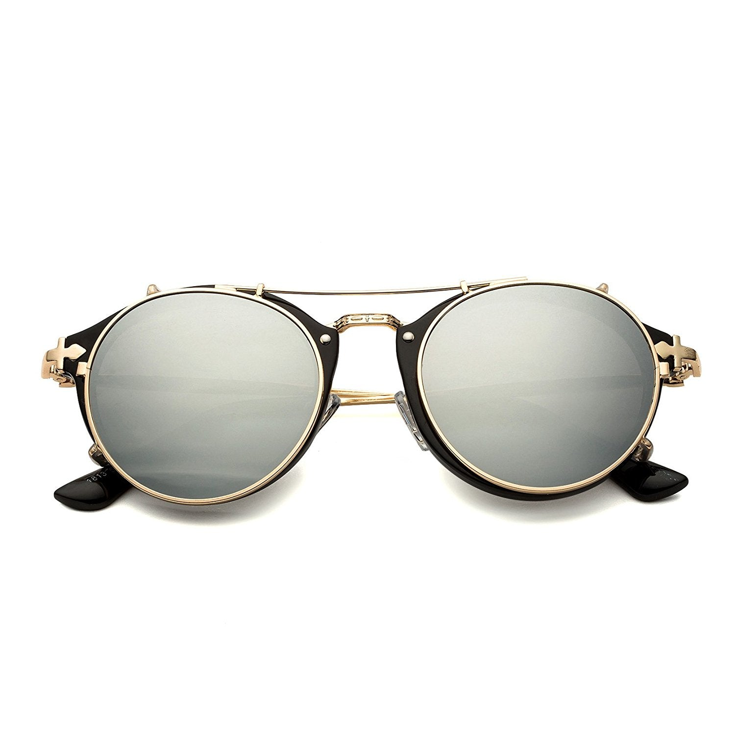 b049387c153 ... Dollger Clip On Sunglasses Steampunk Style and Round Mirrored Lens ...