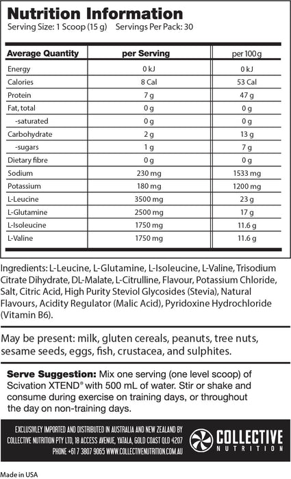 Xtend Free (Naturally Sweetened) - 30 Serve - Supplement Essentials