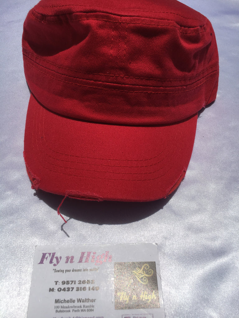 3cabe77a Military Style Torn Cap - Red – Fly N High Horse Wear