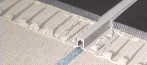 Tile Flooring Surface Expansion Joint - PVC Light Grey