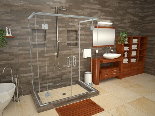 Tile Redi® Shower Installation Pan - Triple Curb - Center Drain