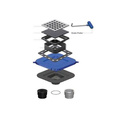 "USG Durock Drain Kit - Square 4"" Brushed Nickel Grate"