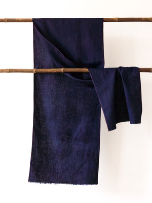 Aboubakar Fofana linen indigo-dyed shawl with red stitching