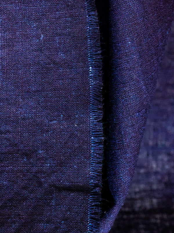 Aboubakar Fofana linen indigo-dyed shawl with red stitching detail