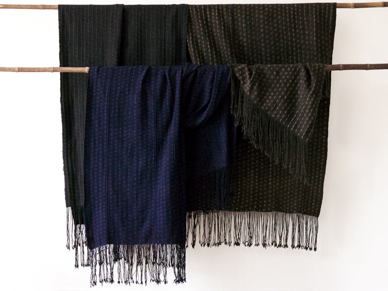 Aboubakar Fofana indigo and mud-dyed resist pattern shawls