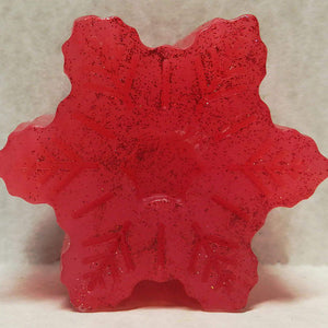 Snowflake Shaped, Pomegranate Scented Glycerin-Based Soap
