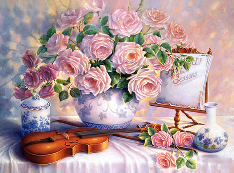 Pink Flowers With Violin H542