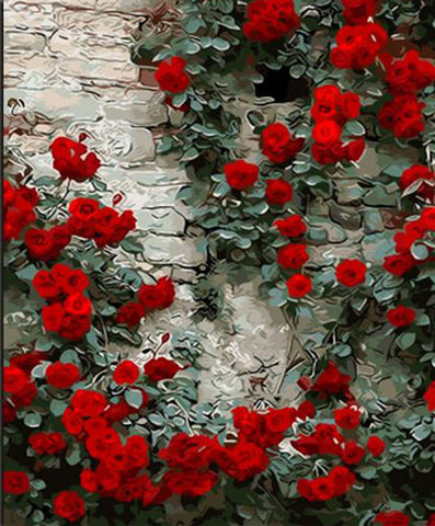 Red Flowers on Wall