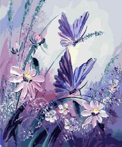 Pink Flower and Purple Butterfly