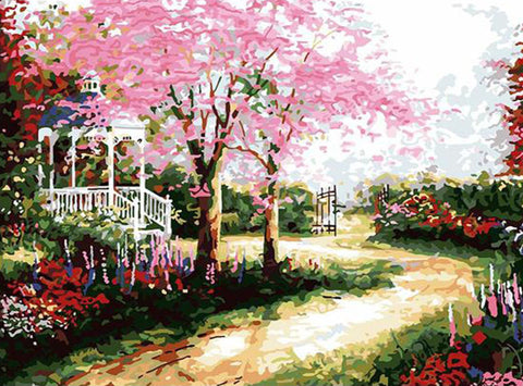 Park Path with Pink Flowers