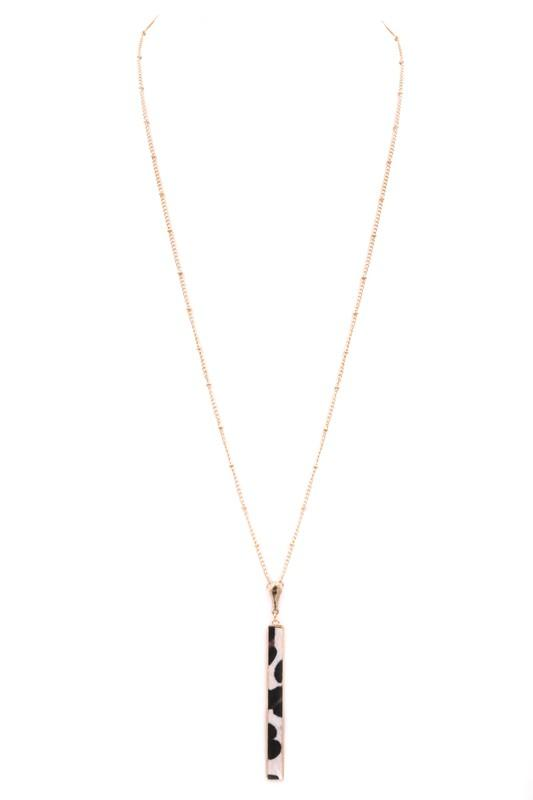 Metal leopard bar long necklace