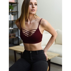 Interwoven Strappy Bralette - Comes in Wine or Black