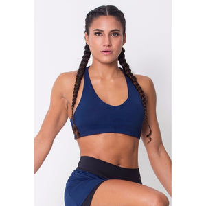 Navy Lightweight Sports Bra Criscrossed back