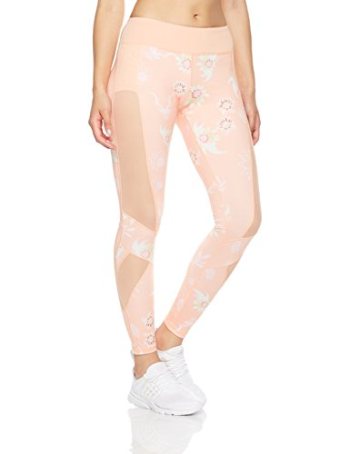 Mint Lilac Women's Printed Pants With Mesh Panel, Peach, Small