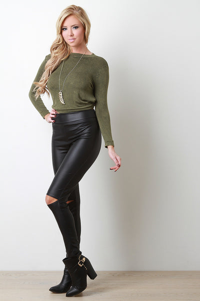 High Waist Slit Knees Vegan Leather Leggings