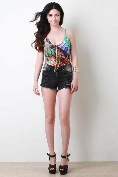 Distress Cheeky High Waisted Denim Shorts