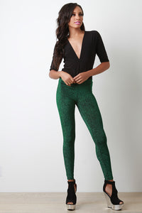 Metallic Glitter High Waist Stretch Leggings