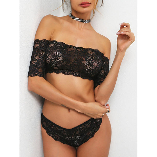 Scallop Trim Bardot Lace Bandeau Set