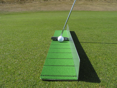 Golfclub and ball aligned with black lines front view