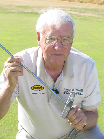 Harold Swash profile in white shirt with golf club