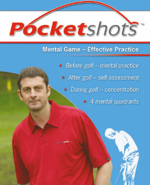 Light blue pocketshots front cover mental game effective practice with Karl Morris in red shirt