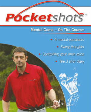 Light blue pocketshots front cover mental game on the course with Karl Morris in red shirt