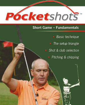 Dark green Pocketshots short game front cover with Keith Williams holding a golf club.