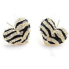 Crystallized Zebra Heart Earrings