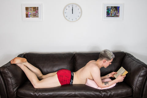 Smugglers Underwear Bamboo Boxers on Male model laid on Sofa