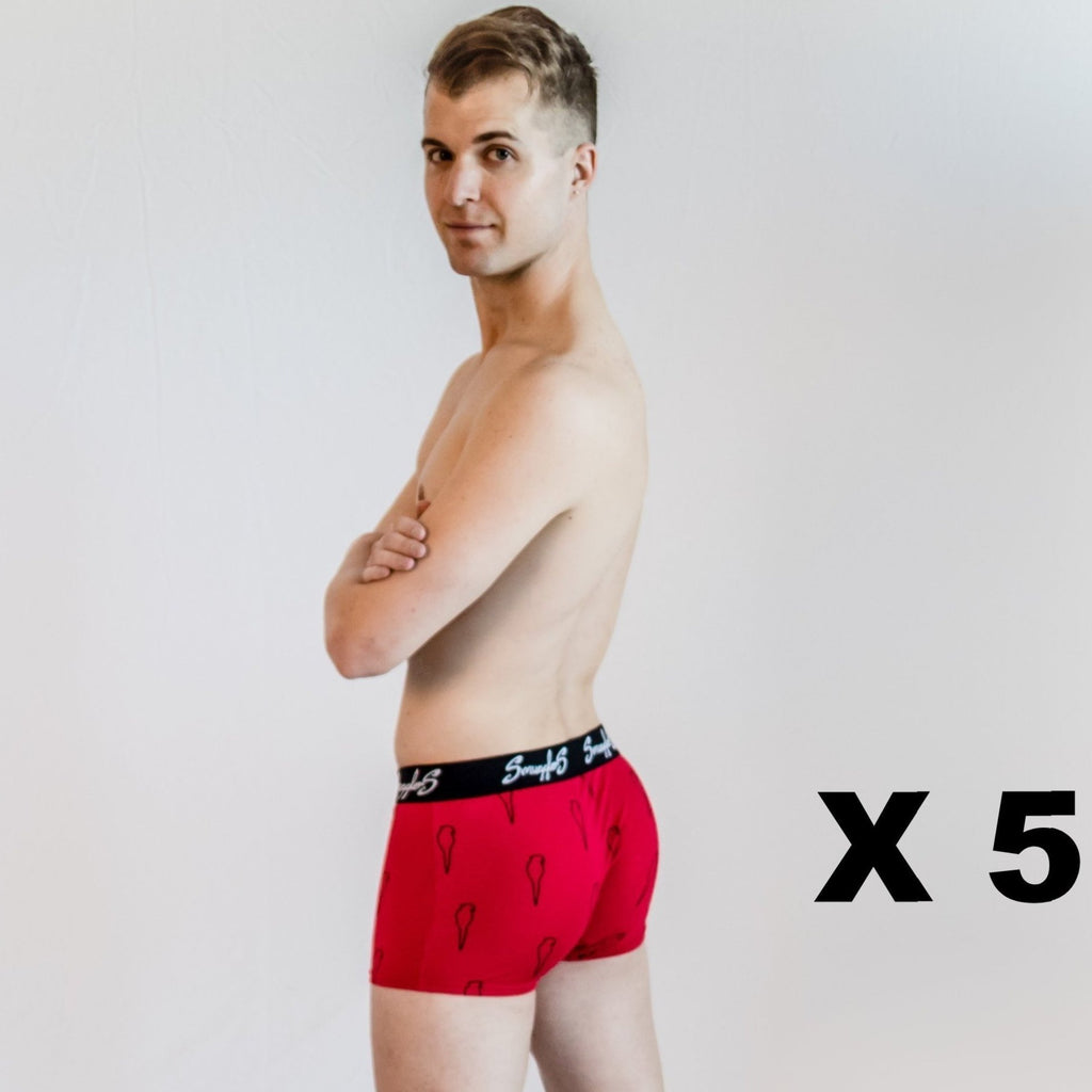 5-Pack - Fitted Boxer Briefs with Parrot Design - Red