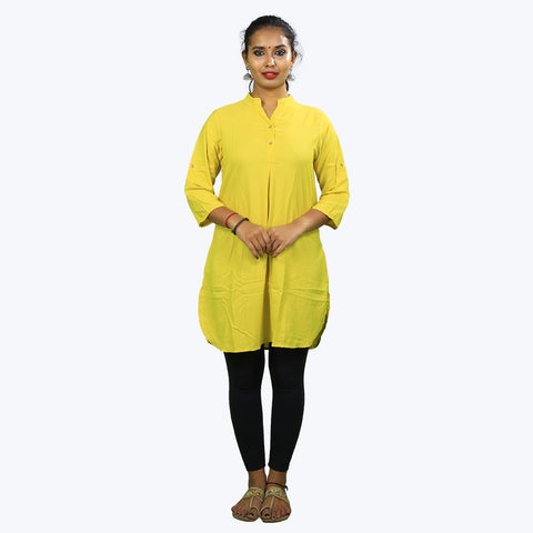 Yellow colour collar type Kurta