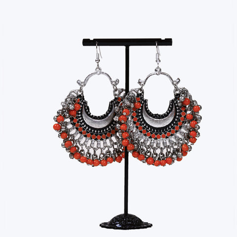 Orange Beaded Afghani Earrings