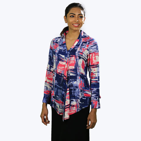 Multicoloured printed top with full sleeves