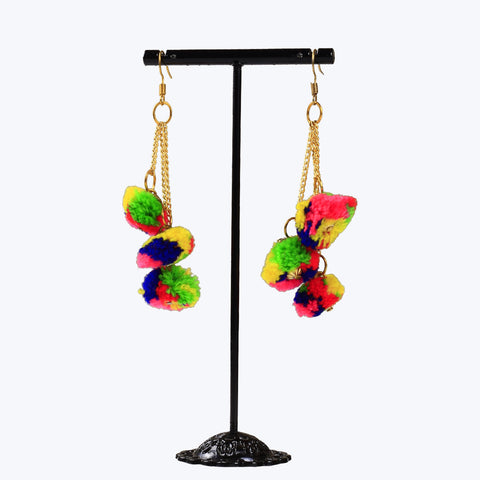 Fashion hook dangle tassel long funky earrings with pompoms