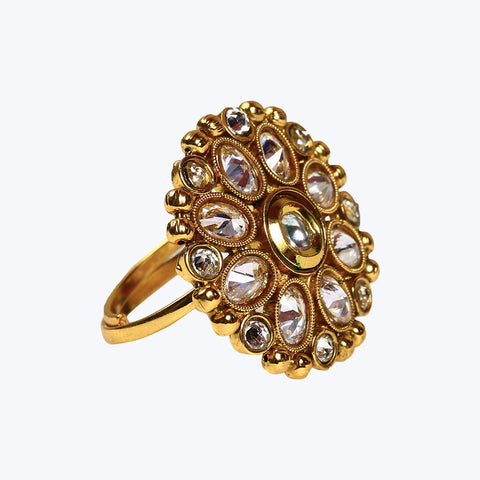 Golden coloured floral design ring