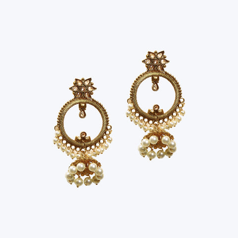 Golden coloured pearl jhumki